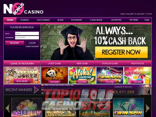 No Bonus Casino Screenshot 1