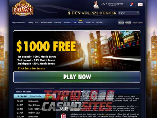 Spin Palace Casino Screenshot 1