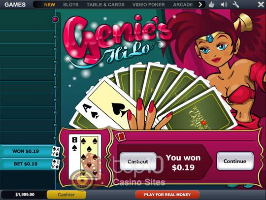 Play Genie's Hi Lo Arcade Game at Casino.com UK